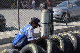 Checking tire pressures before the race