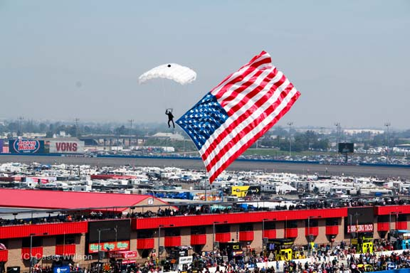 parachuting the flag
