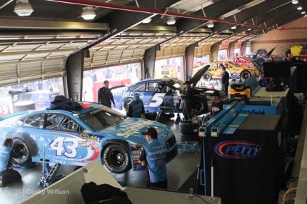 One side of one of three garages